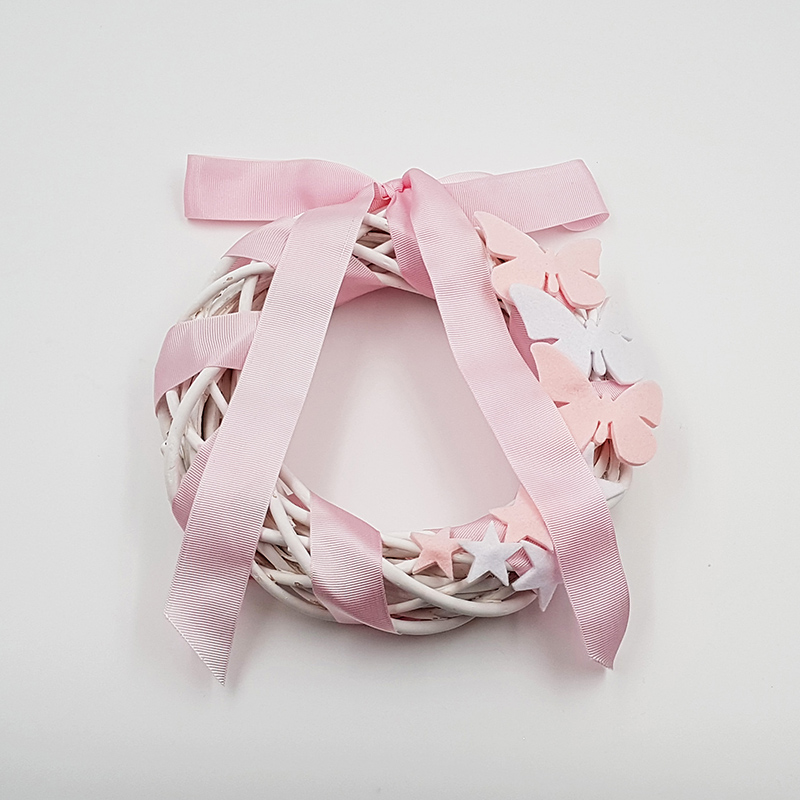 ghirlanda nascita rosa