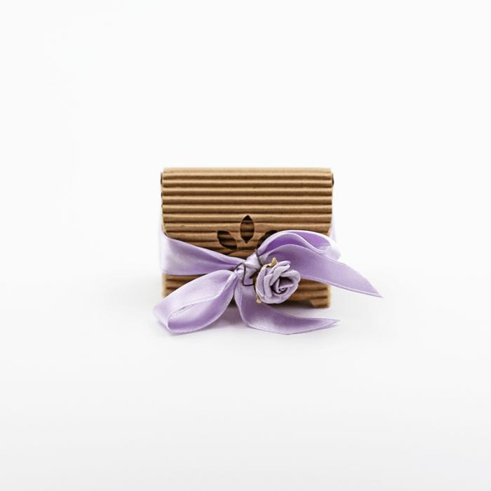 scatolina rustica fiocco viola